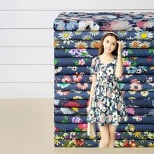 Thin Soft Spring and Summer Denim Fabric Printined Retro Flower Chrysanthemum FlowerSewing Material Diy Women Girl Dress