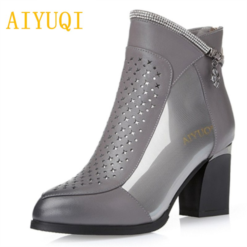 Aiyuqi 2019 New Spring Genuine Leather Female Net Shoes Fashion Breathable Deep Shoes Mesh Comfortable Sandals Female Size34 Shoes