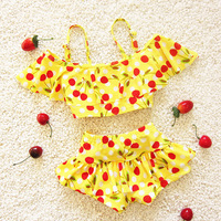Maxmessy Girls Swimming Pool Clothes Two Pieces Set Cherry Children S Swimsuit Girls Bikini Baby Kids