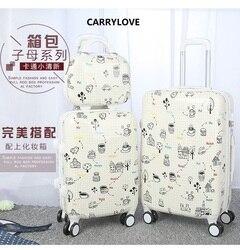 CARRYLOVE moda dos desenhos animados bagagem série 20/24 inch PC Bolsa e marca Mala de Viagem Rolando Bagagem Girador