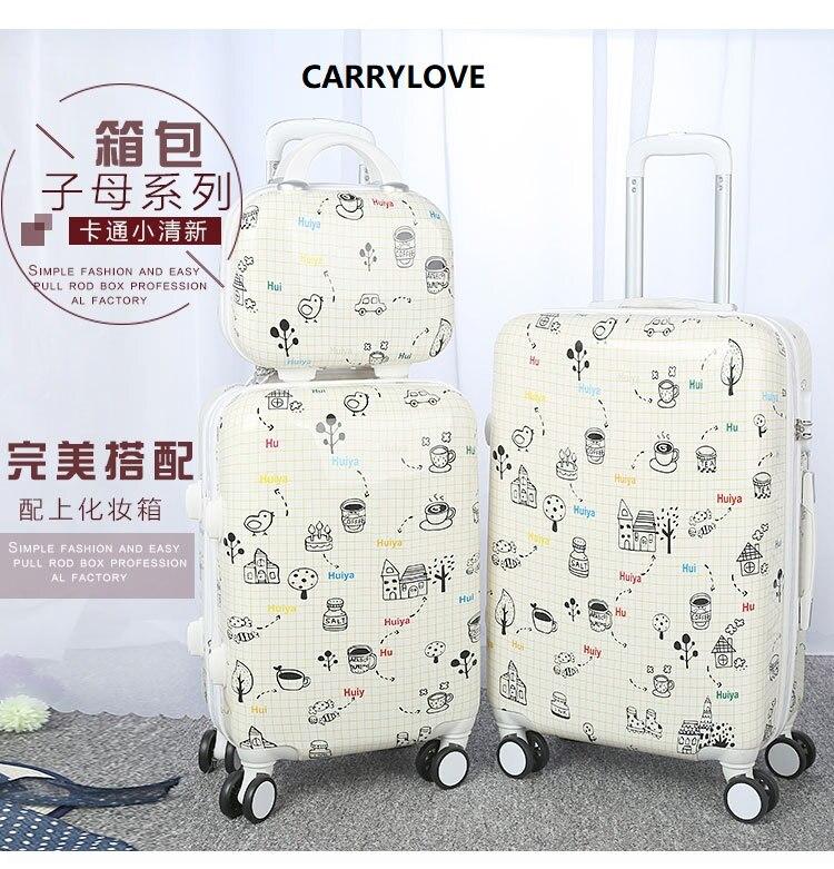 CARRYLOVE série de bagages de bande dessinée de mode 20/24 pouces PC sac à main et bagage roulant valise de voyage de marque Spinner