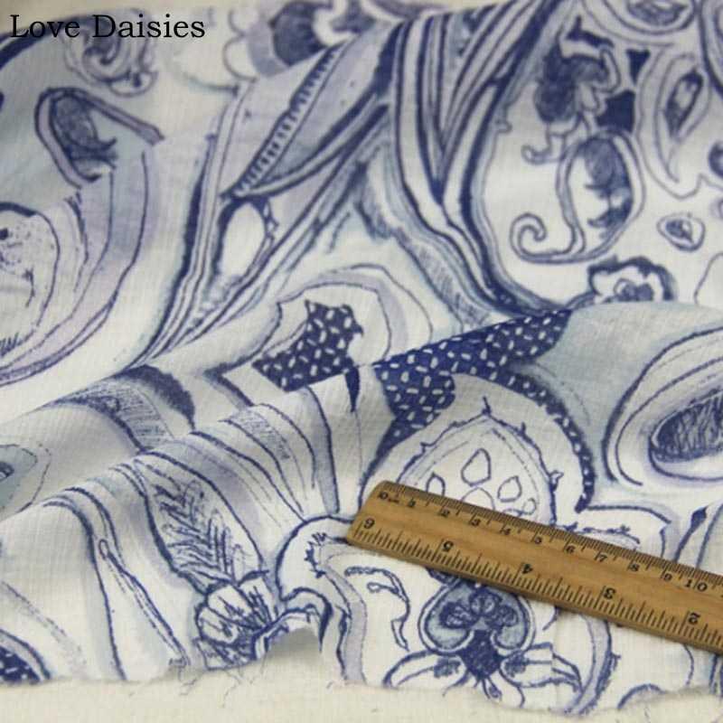 100% algodão crepe azul paisley tecidos transparentes muito finos para a menina verão vestuário vestido de sol-proteção vestuário forro blusa