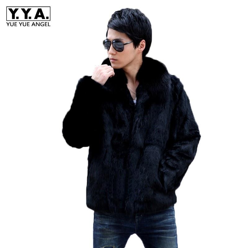 Men Rabbit Fur Short Coat Fox Fur Collar Shearling 2019 Slim Business Jacket Top Brand Long Sleeve Zip Winter Black Outwear 4XL(China)
