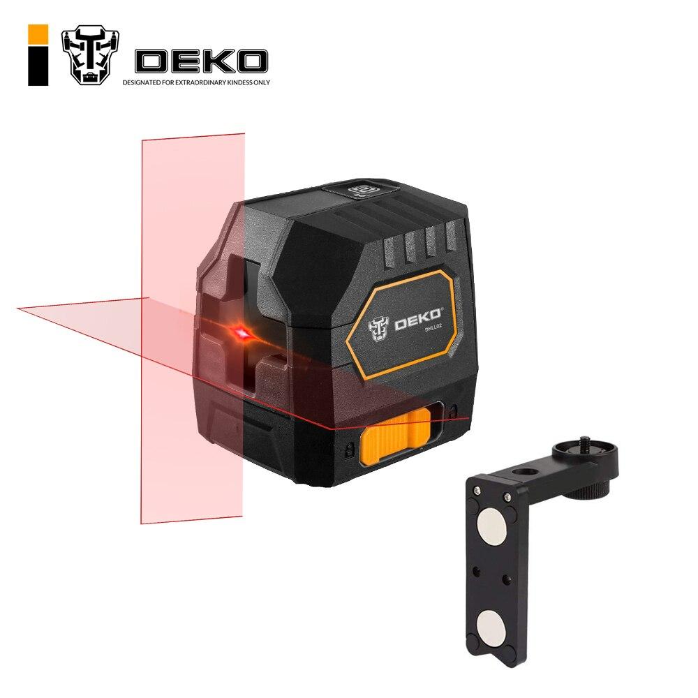 DEKO DKLL02 Mini Style Self Leveling Laser Level Horizontal Vertical Cross Line Red Green Light Source Adjustable Mounting Clamp
