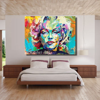 high quality handpainted Marilyn Monroe Portrait Oil Painting Abstract Wall Painting on Canvas Art  for Living Room Home Decor