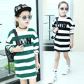 Girls Long T-Shirts Full Sleeve Striped Kids Dresses For Girls Clothes Cotton Letter Girls Tees Spring Autumn Children Clothing