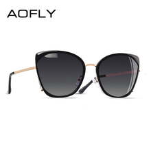 AOFLY BRAND DESIGN Fashion Ladies Cat Eye Sunglasses Women Polarized Sunglasses Female Unique Frame Gradient Lens UV400 A155