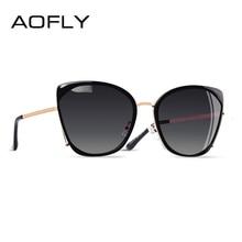 AOFLY BRAND DESIGN Fashion Ladies Cat Eye Sunglasses Women Polarized Female Unique Frame Gradient Lens UV400 A155