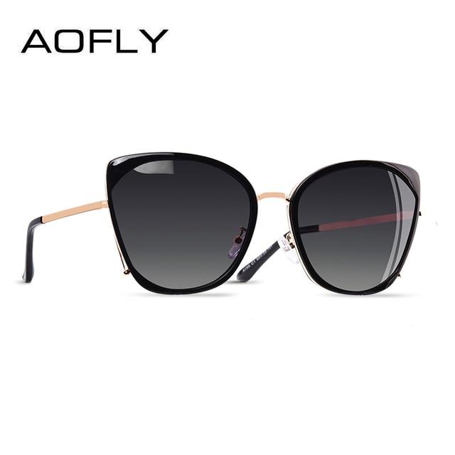 AOFLY 브랜드 디자인 패션 숙녀 고양이 눈 선글라스 여성 편광 선글라스 여성 고유 프레임 그라디언트 렌즈 UV400 A155