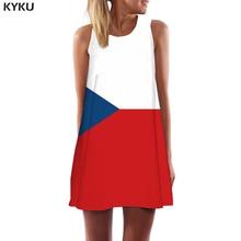 KYKU Brand Czech Flag Dress Women Republic Ladies Dresses Colorful Boho Geometric Sundress Short Womens Clothing Elegant