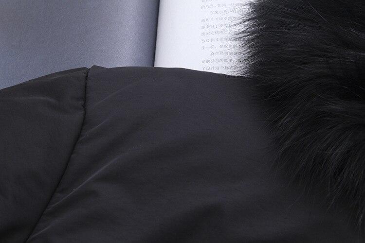 De Pour Femmes Chaud Fourrure Épais 5xl À Casual Vêtements T4 8609 Parkas Mode Réel Col Fox Capuchon Taille Manteaux Lâche Noir Hiver Rembourré Plus 8Cxn06Aw