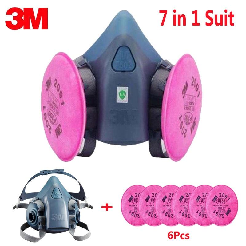 7 En 1 traje de la pintura de aerosol de máscara de polvo respirador para 3 M 7502, 2091 P100 industria polvo respirador Fliters