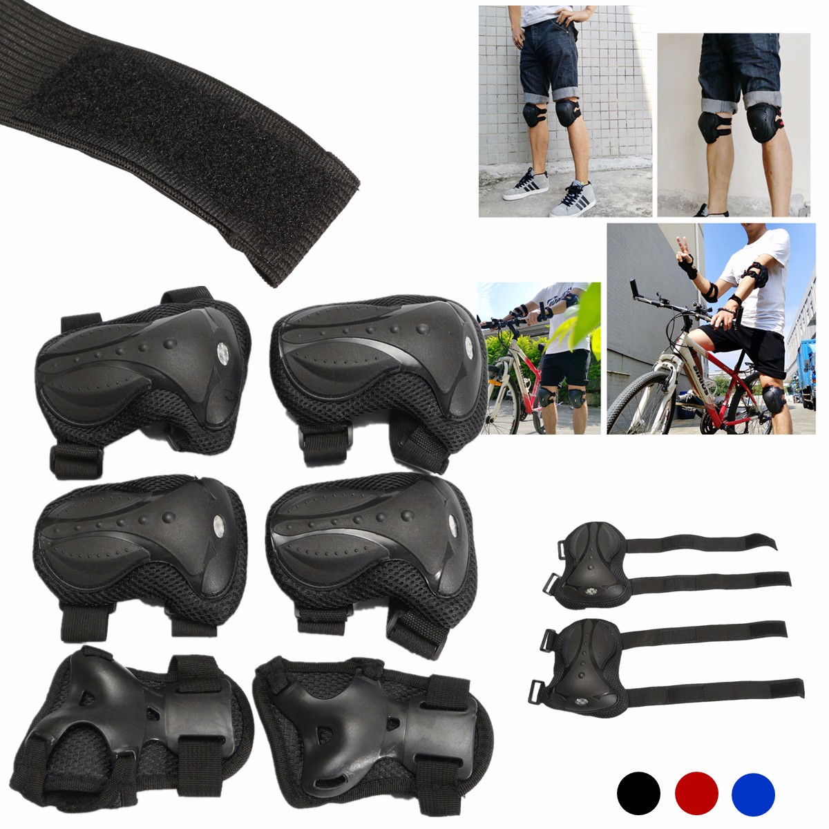 6pcs/set Adult Sports Safety Set Knee Elbow Pads Protective Kneepads Protection For Scooter Cycling Roller Skating