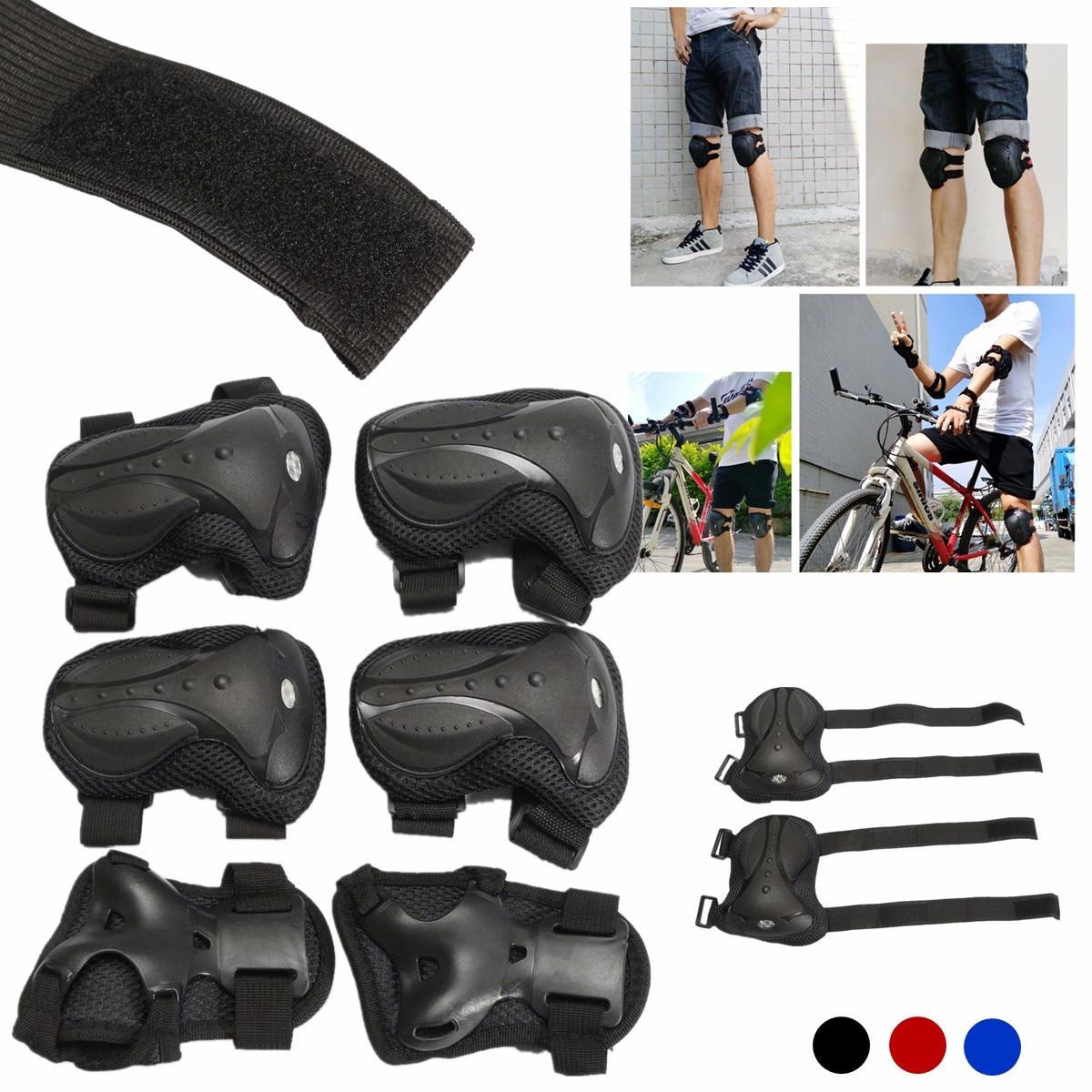 6 teile/satz Erwachsene Sport Sicherheit Gesetzt Knie Ellenbogen Pads Schutz Kneepads Schutz Für Roller Radfahren Roller Skating