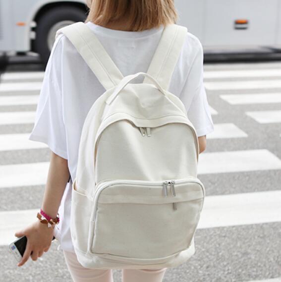 2017 Fashionable female canvas backpack white schoolbag Teenage girl casual backpack shoulder large bag