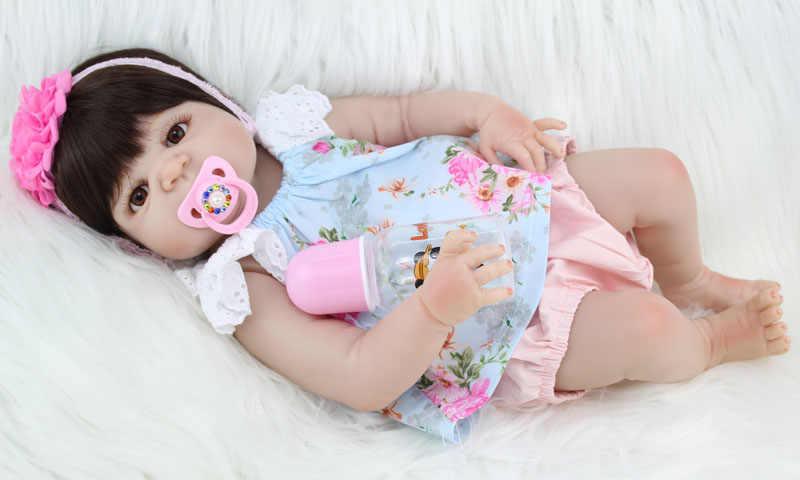55 سنتيمتر كامل سيليكون تولد من جديد طفلة ألعاب الدمى نابض بالحياة الوليد الأميرة الفتيات الأطفال دمية هدية عيد ميلاد الطفل الاستحمام لعبة