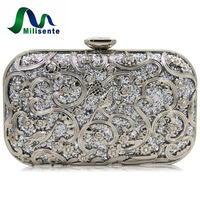 Milisente 6Colors Ladies New Design Clutches Women Metal Gold Flower Pattern Hard Case Evening Clutch Bag