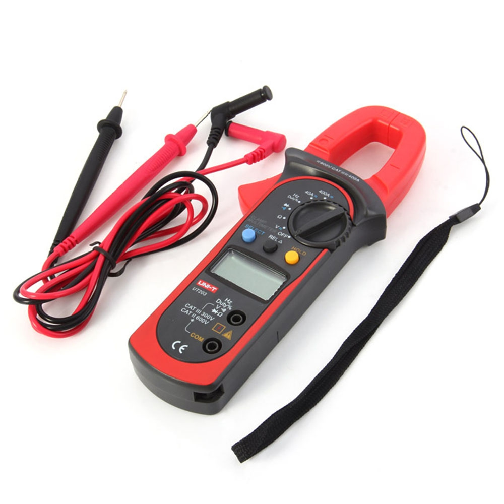 UNI-T UT203 3999 Count 40A to 400A AC/DC Current Auto Range Digital Clamp Meter with Voltage Resistance Frequency Test Tool uni t ut205 ture rms auto manual range digital handheld clamp meter multimeter ac dc voltage aca test tool