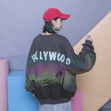 Fashion HARAJUKU behind the gradient doodle letter print batwing sleeve oversize sweatshirt
