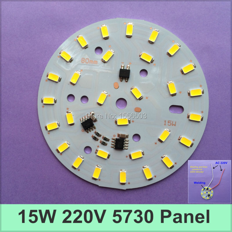 100pcs/lot AC 220V 5730 LED PCB 15W 80MM Bulb Lamp Panel Integrated IC Neednt Driver SMD High Voltage Light Plate Power PCB