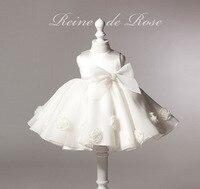 2018 zomer witte jurk voor doop bloemen baby meisjes kleding baby kleding grote strik kinderen kostuum trouwjurken