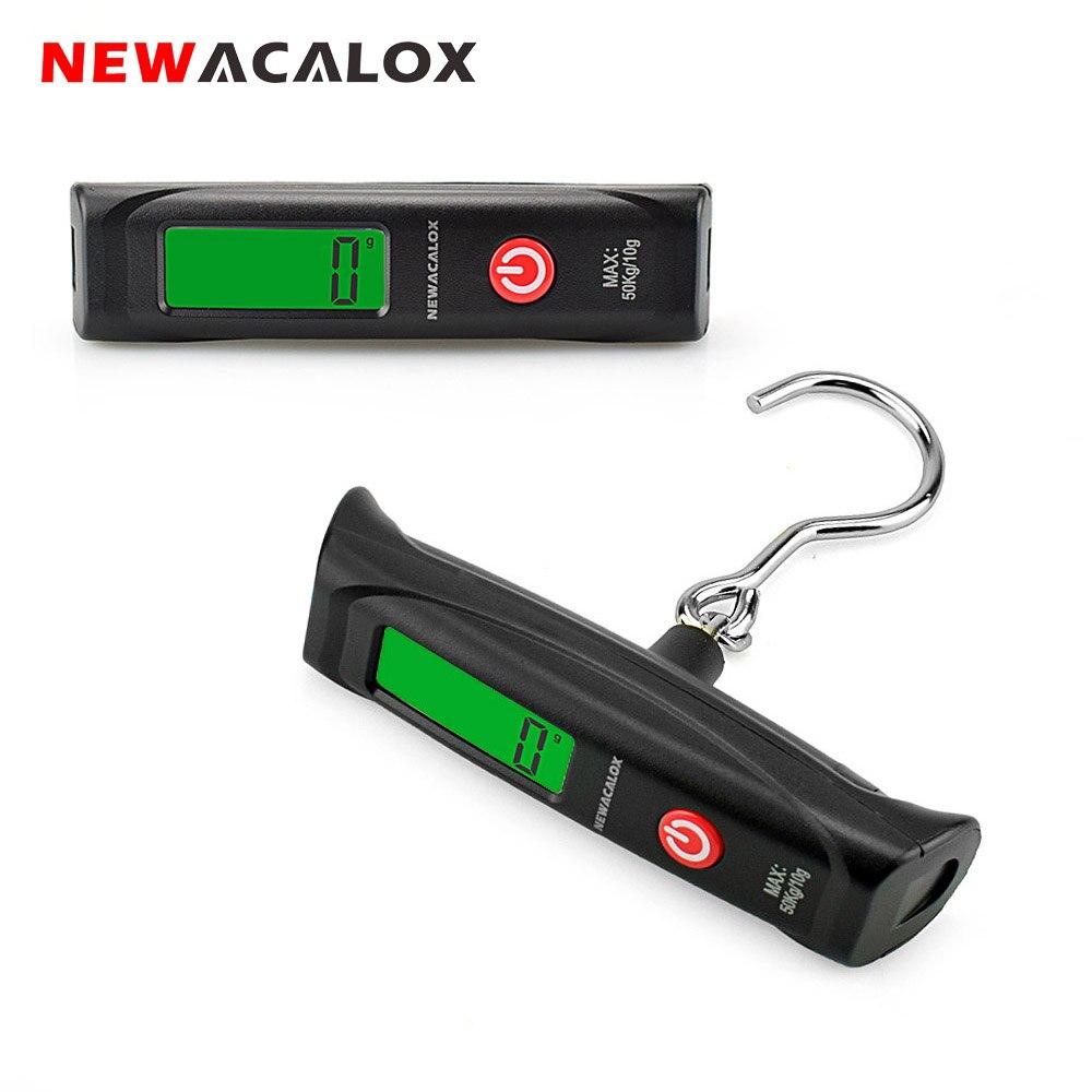 NEWACALOX 50kg / 110lb Kapesní digitální cestovní váha Vážení zavazadel Rybářské elektronické závěsné váhy