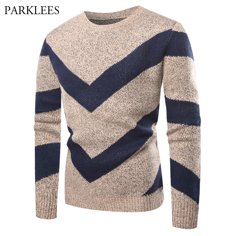 lovever Men Casual Round Neck Striped Patchwork Pullover Knit Sweater