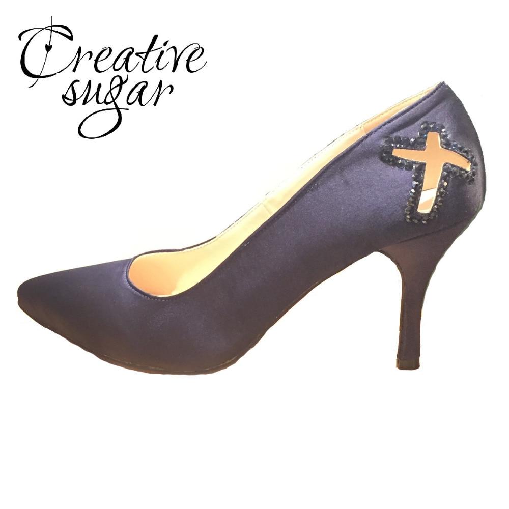 Creativesugar woman pointed toe navy blue high heels with cutout cross sparkle rhinestones evening dress shoes church pumps