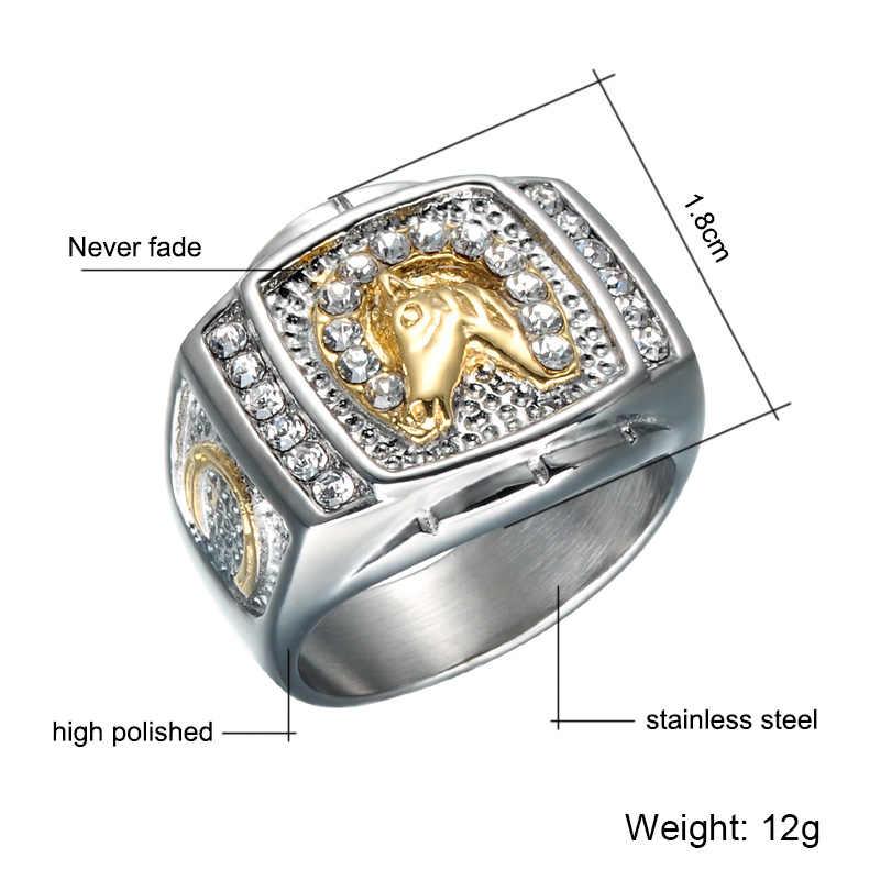 HIP Hop IP Gold Filled Micro Pave Rhinestone Iced Out Bling ม้าแหวนไทเทเนียมสแตนเลสสตีลแหวนสำหรับชายผู้หญิงเครื่องประดับ