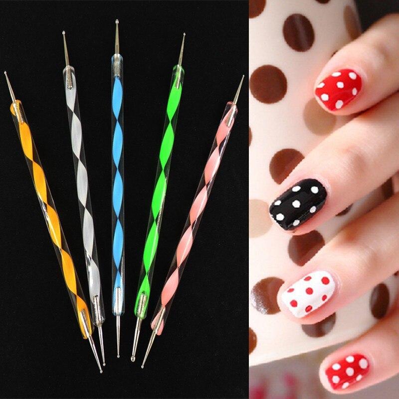 Free Shipping Dot Paint Big Sale 5pcs 2 Way Nail Art Tool ...