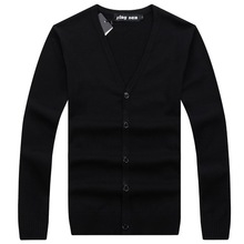 RICHARDROGER  Cotton Sweater Men Long Sleeve  Mens V-Neck Sweaters Loose Solid  Fit Knitting Casual Style Clothing 099