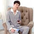 Pijamas dos homens de alta Qualidade Primavera Outono Manga Longa Sleepwear Homens Pijamas de Algodão Xadrez Salão Conjuntos de Pijama Sleepwear 040