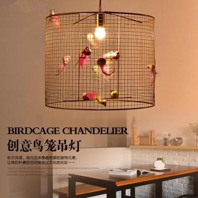Современный деревенский кабинет Ресторан подвесной светильник модная гостиная кафе искусство золотая птица подвесная клеть осветительны