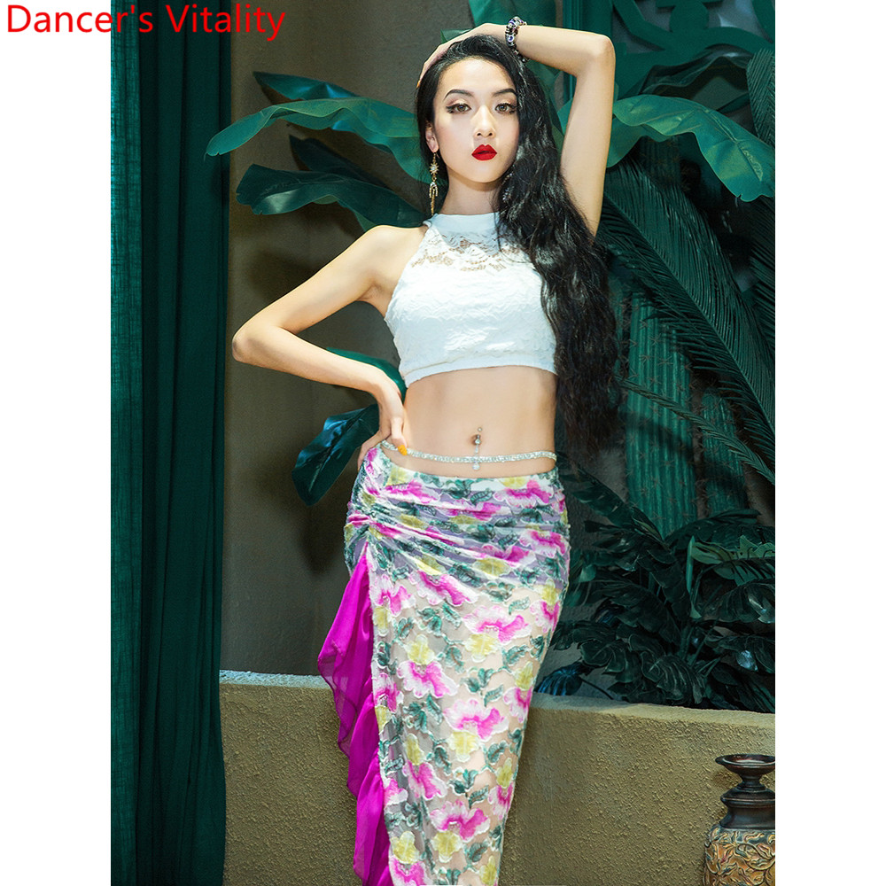 Belly Dance New Arrival Lace Splicing Top Long Skirt Practice Clothes Women Indian Oriental Dancing Competition Stage Wear
