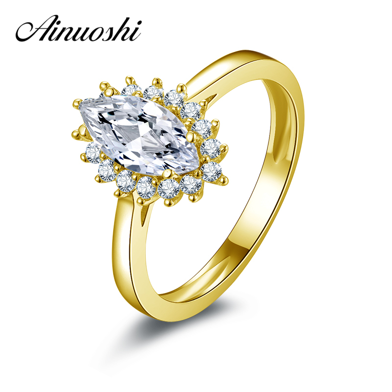 AINUOSHI 10k Solid Yellow Gold Women Wedding Ring 1 Carat Marquise Cut CZ Halo Bagues Jewellry Young Lady Birthday Party Rings цена