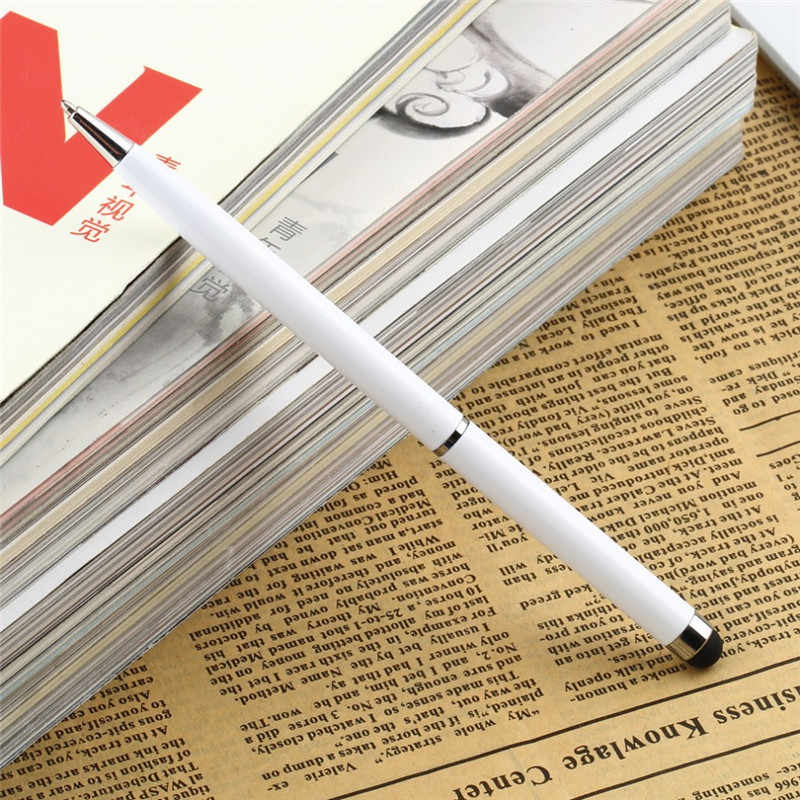 2 ב 1 מיני מתכת קיבולי אוניברסלי טבליות מגע Stylus עט מיקרופייבר כדור עט עבור iPhone 5 6 7 מחשב נייד מובנה כדורי