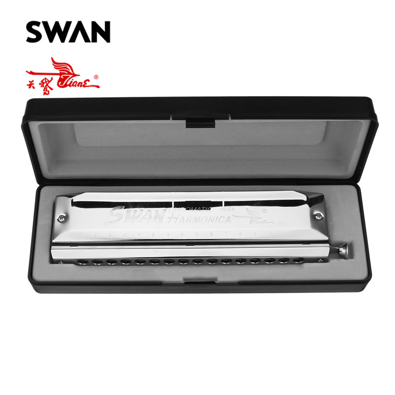 Swan 1pc 16 Holes 64 Tones Silver Chromatic Harmonica High end Square Shape Musical Instruments Mouth