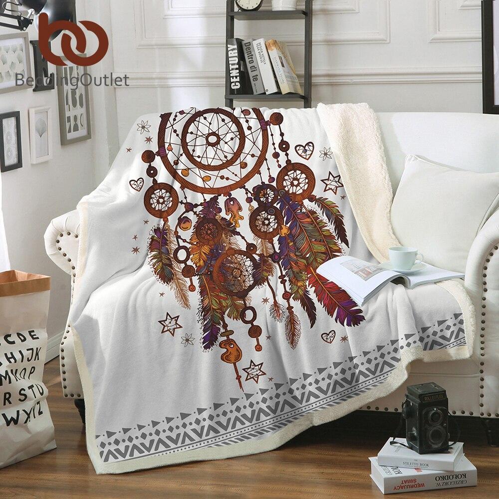 BeddingOutlet Samt Plüsch Decke Hipster Aquarell Sherpa Decke für Couch Dreamcatcher Federn Gedruckt Weiche Werfen