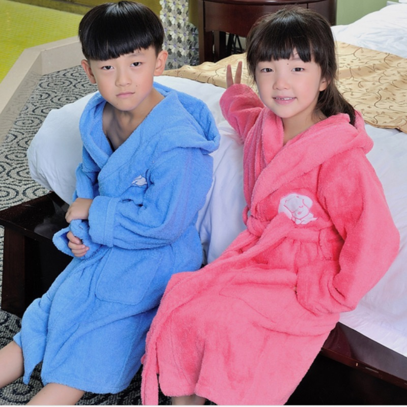 2017 Spring Autumn Winter children's bathrobes puppy dog hooded long sleeve sleepwear girls pink robe boys robes pyjamas kids
