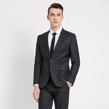 Black Men Suits For Wedding Notched Lapel Groom Tuxedos Two Piece Mens Suits Slim Fit Groomsmen Suit (Jacket+Pants)
