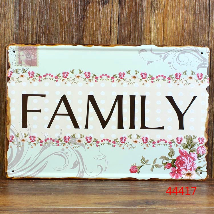 Love family metal tin signs - Metal painting wall art home decor ,classic retro home decoration 30x20cm A-37229
