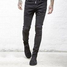 Men's Denim Biker Jeans Fashion Men Skinny Jeans Pants Slim Homme Washed Ripped Mens Hip Hop Pants Jeans Black Blue