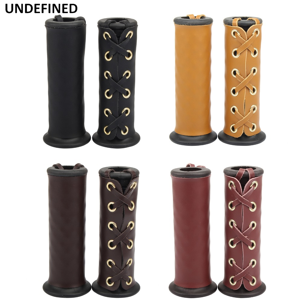 7 8 quot 22mm Brown Motorcycle Grips Vintage Leather Hand Grip Throttle Covers Wraps for Honda Cafe Racer Cruiser Chopper Universal in Grips from Automobiles amp Motorcycles