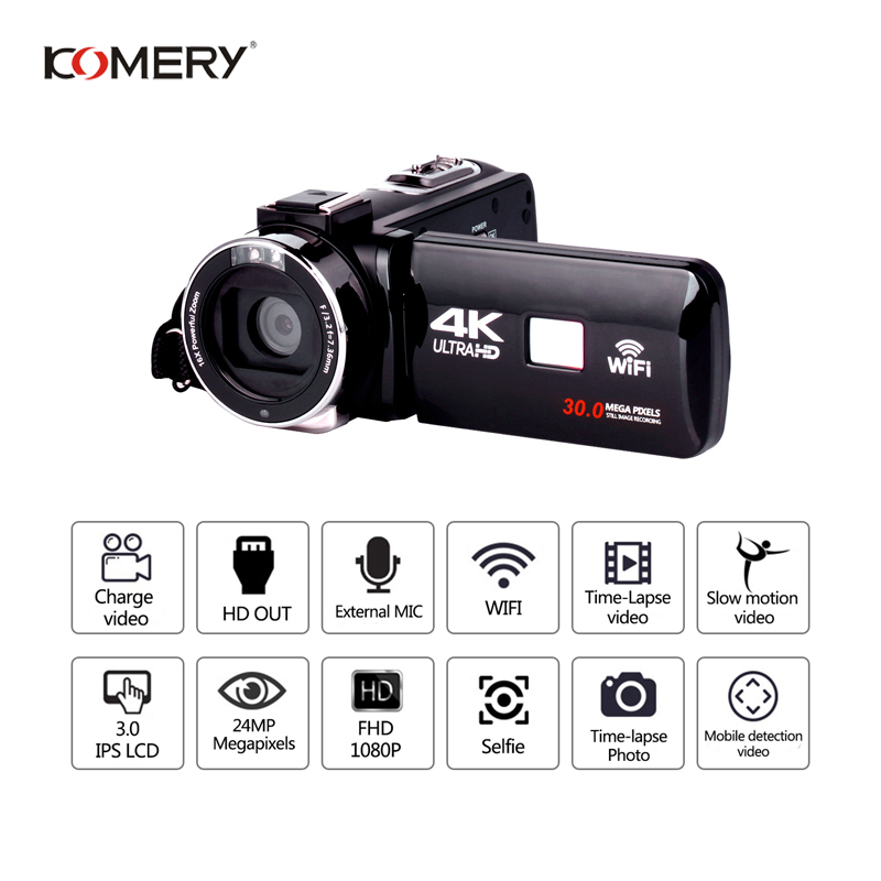 KOMERY 4 Originais K Wifi Suporte para Câmera de Vídeo de Visão Noturna 3.0 Polegada LCD Touch Screen Câmera Fotografica Melhor Qualidade Menor preço