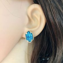 10 Colors Drusy Druzy Stud Earrings Hexagon Resin Kallaite Howlite Stone Gold Colour Cute Brand Jewelry for Women