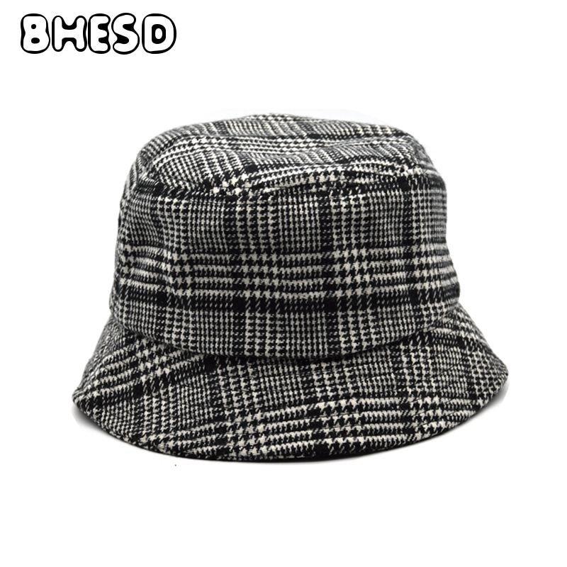 BHESD 2018 Black Vintage Plaid Bucket Hat Women Houndstooth Panama Hat Men  British Retro Bob Hat Spring Casquette Bones JY-685 10f3a0235e5