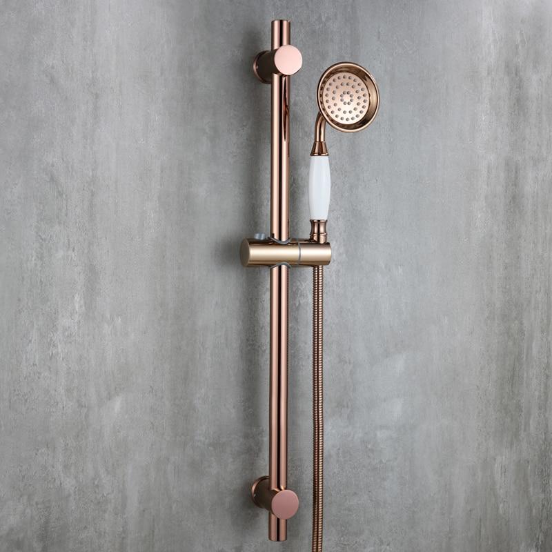 Luxury Rose Gold strong round brass Handhand Shower Head set with Adjustable stainless steel Slide Bar shower head holder E - 3