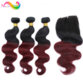 Malaysian Virgin Hair With Closure 3Pcs Malaysian Virgin Hair Body Wave Ombre Human Hair Ms Lula Hair With Closure And Bundles