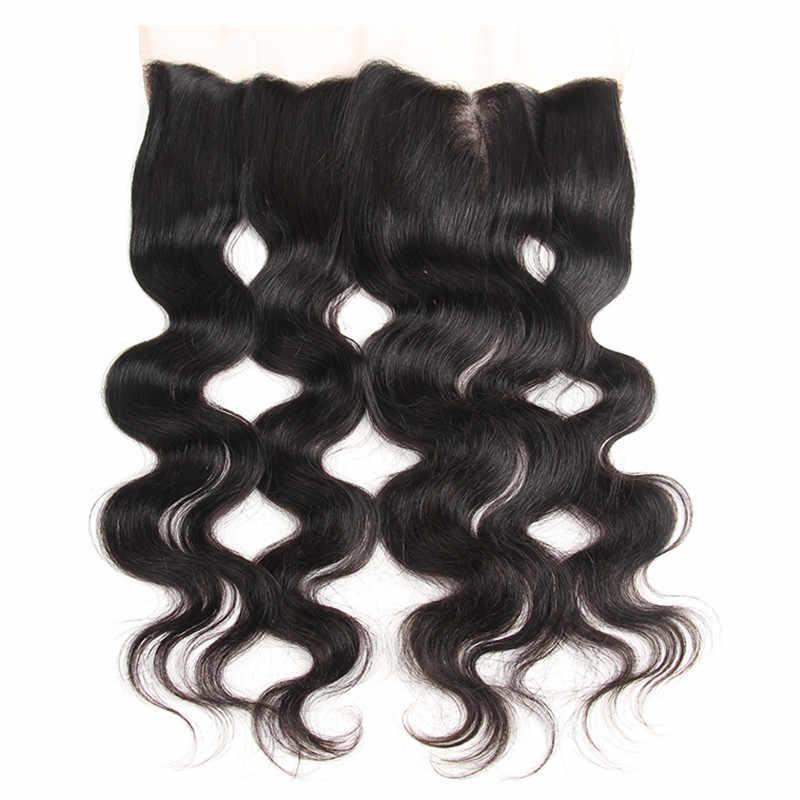"""Karizma Remy pelo cuerpo onda de encaje Frontal 13 """"X4"""" cierre sin división 100% cabello humano Color Natural 10-18 pulgadas"""