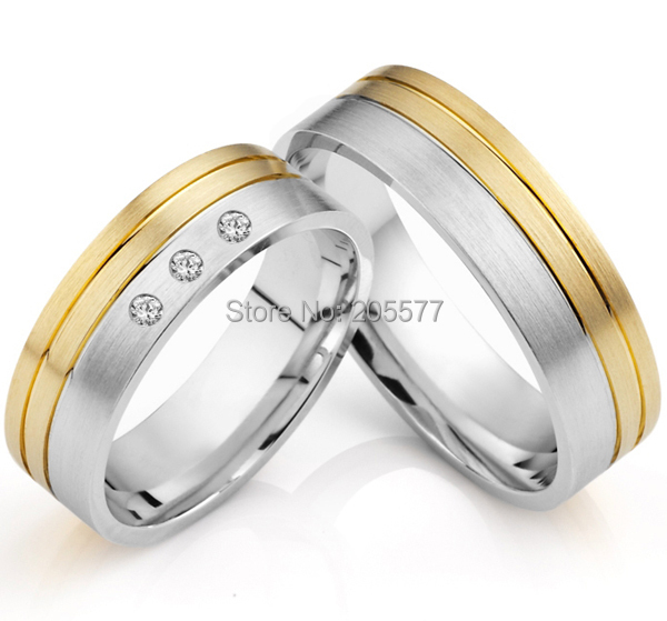 2014 latest yellow gold plating bicolor titanium engagement wedding rings designs for men and women anillos - Wedding Ring Designs